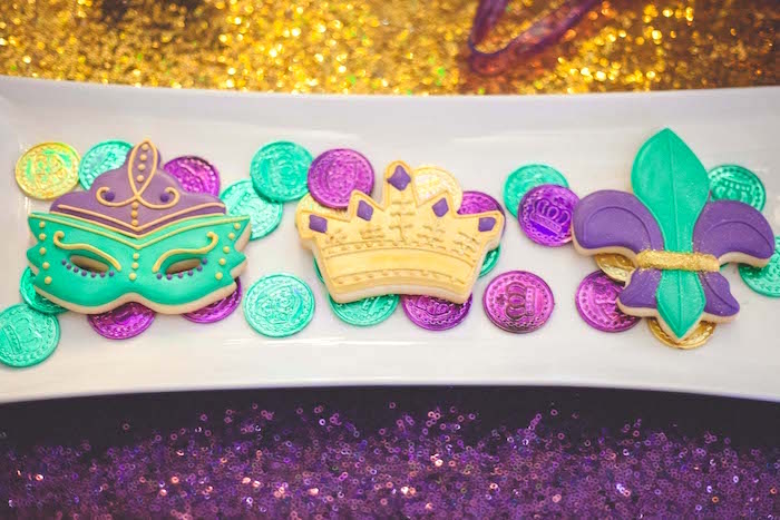 Mardi Gras sugar cookies from a Mardi Gras Themed Birthday Party on Kara's Party Ideas | KarasPartyIdeas.com (16)