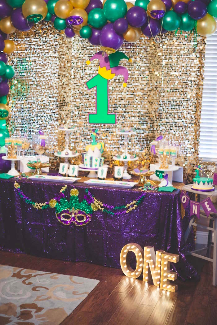 Mardi Gras dessert table from a Mardi Gras Themed Birthday Party on Kara's Party Ideas | KarasPartyIdeas.com (13)