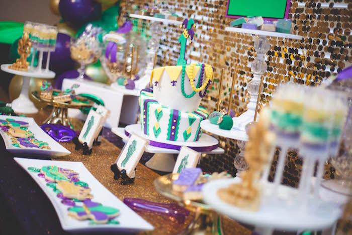 Mardi Gras dessert tablescape from a Mardi Gras Themed Birthday Party on Kara's Party Ideas | KarasPartyIdeas.com (12)