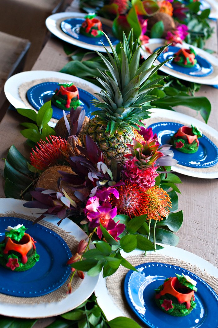 Tropical centerpiece from a Moana Inspired Birthday Party on Kara's Party Ideas | KarasPartyIdeas.com (20)