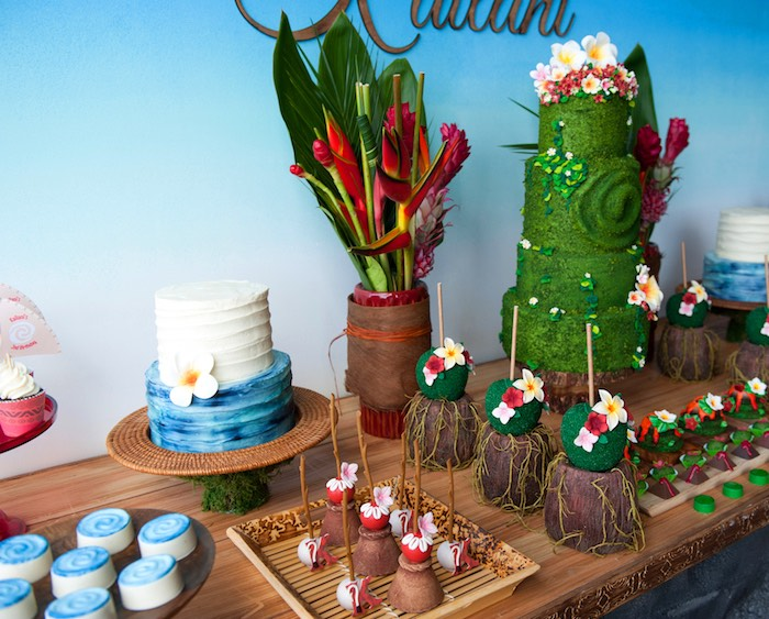 Dessert spread from a Moana Inspired Birthday Party on Kara's Party Ideas | KarasPartyIdeas.com (13)