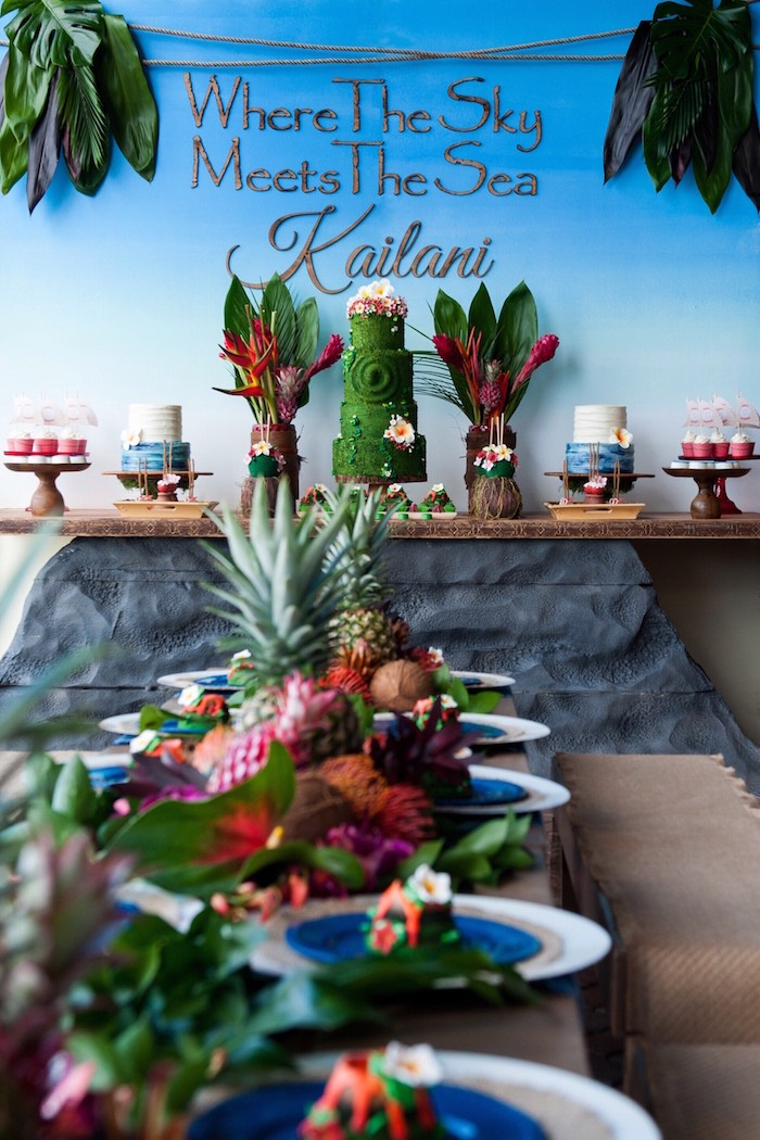 Dessert Table From A Moana Inspired Birthday Party On Karas Ideas