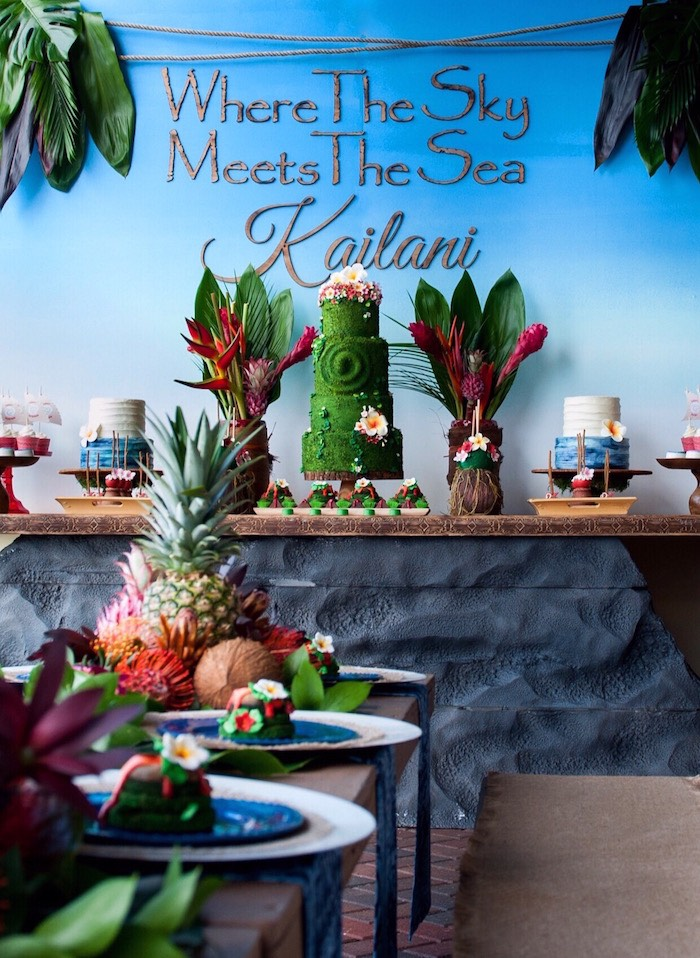 Party tables from a Moana Inspired Birthday Party on Kara's Party Ideas | KarasPartyIdeas.com (27)