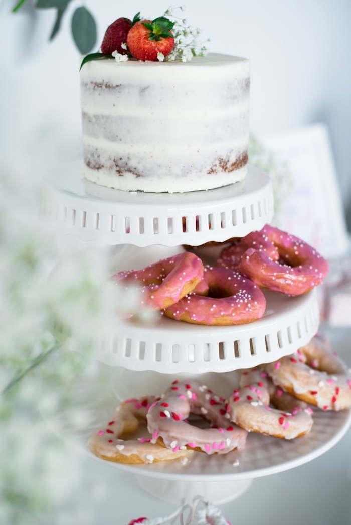 Cake and doughnuts from a Mom & Me Valentine's Day Party on Kara's Party Ideas | KarasPartyIdeas.com (17)