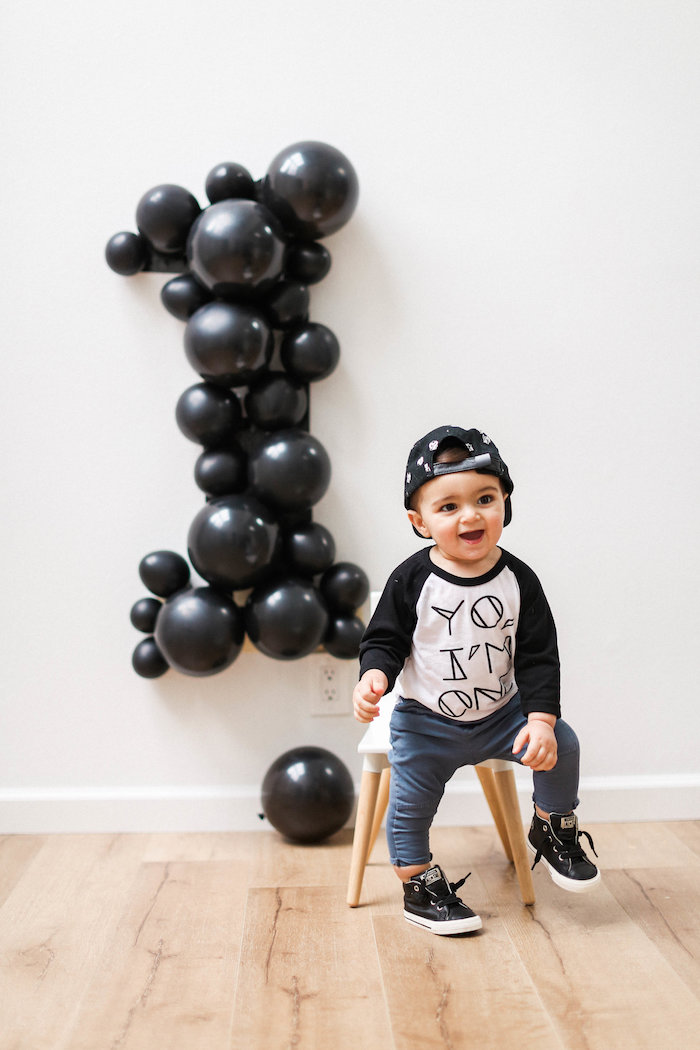 Monochromatic First Birthday Photo Shoot on Kara's Party Ideas | KarasPartyIdeas.com (11)