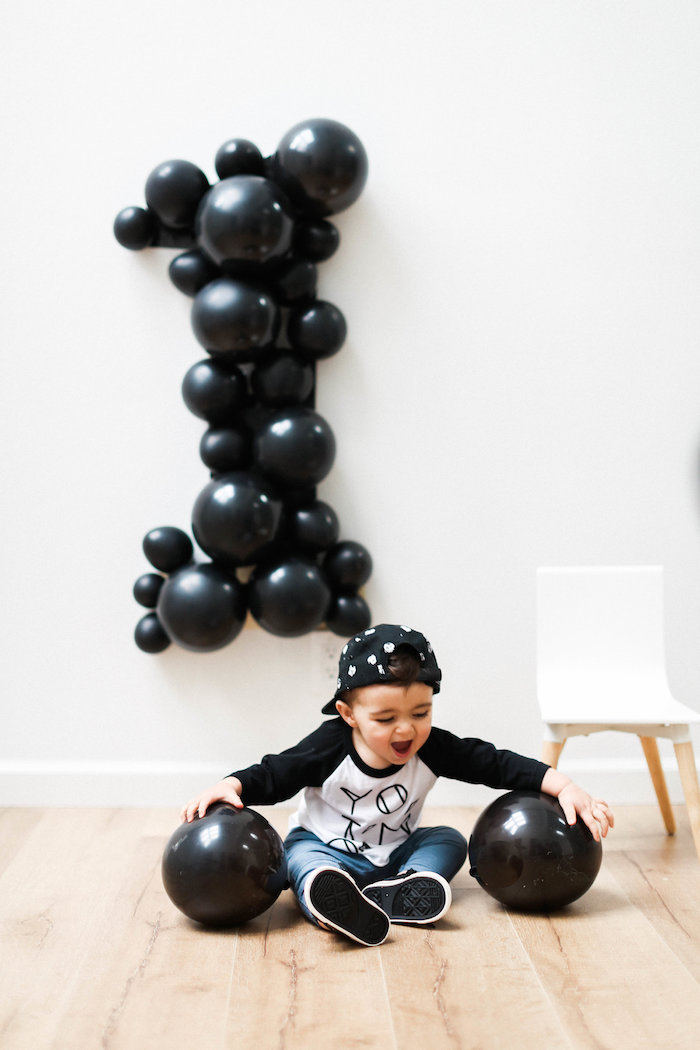 Monochromatic First Birthday Photo Shoot on Kara's Party Ideas | KarasPartyIdeas.com (9)