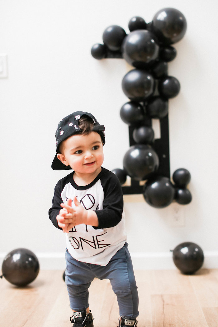 Monochromatic First Birthday Photo Shoot on Kara's Party Ideas | KarasPartyIdeas.com (6)