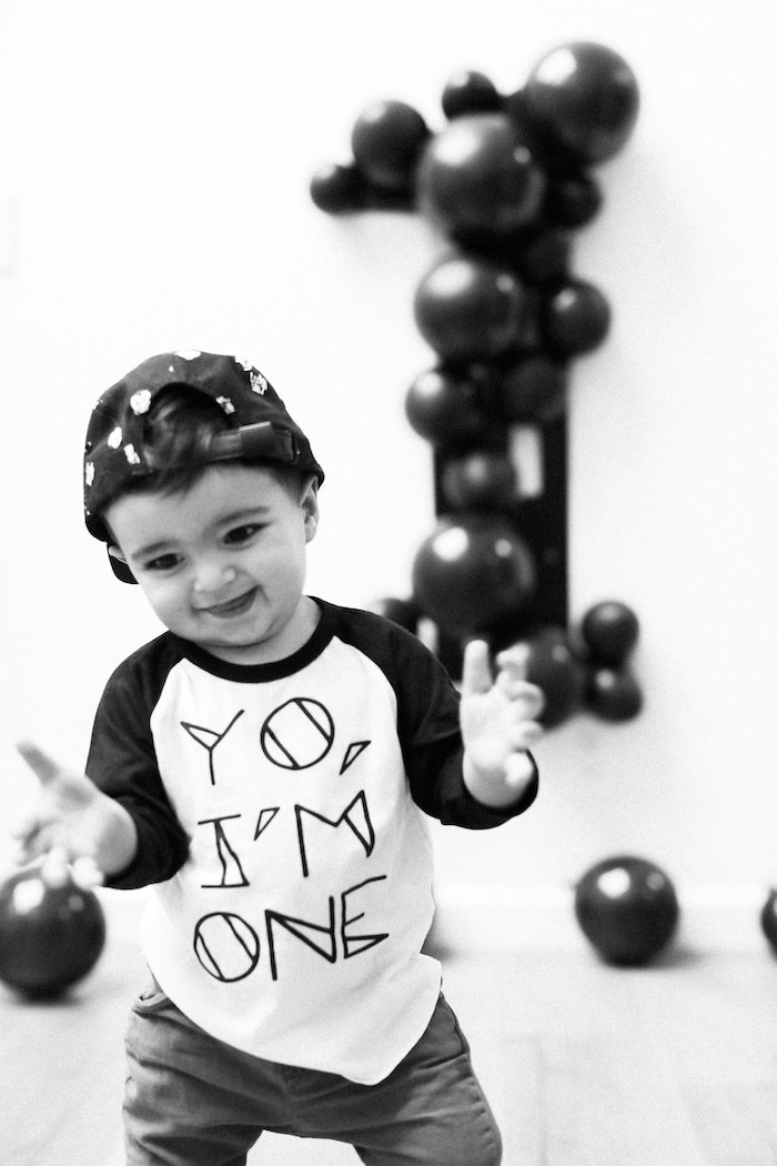 Monochromatic First Birthday Photo Shoot on Kara's Party Ideas | KarasPartyIdeas.com (5)