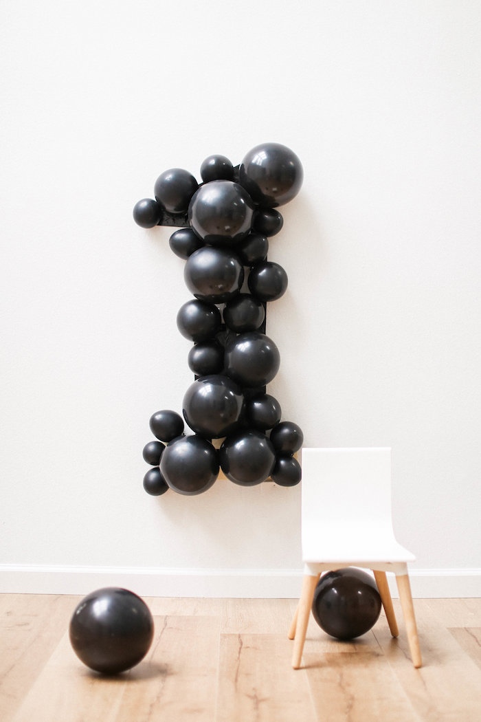 Balloon number backdrop from a Monochromatic First Birthday Photo Shoot on Kara's Party Ideas | KarasPartyIdeas.com (20)