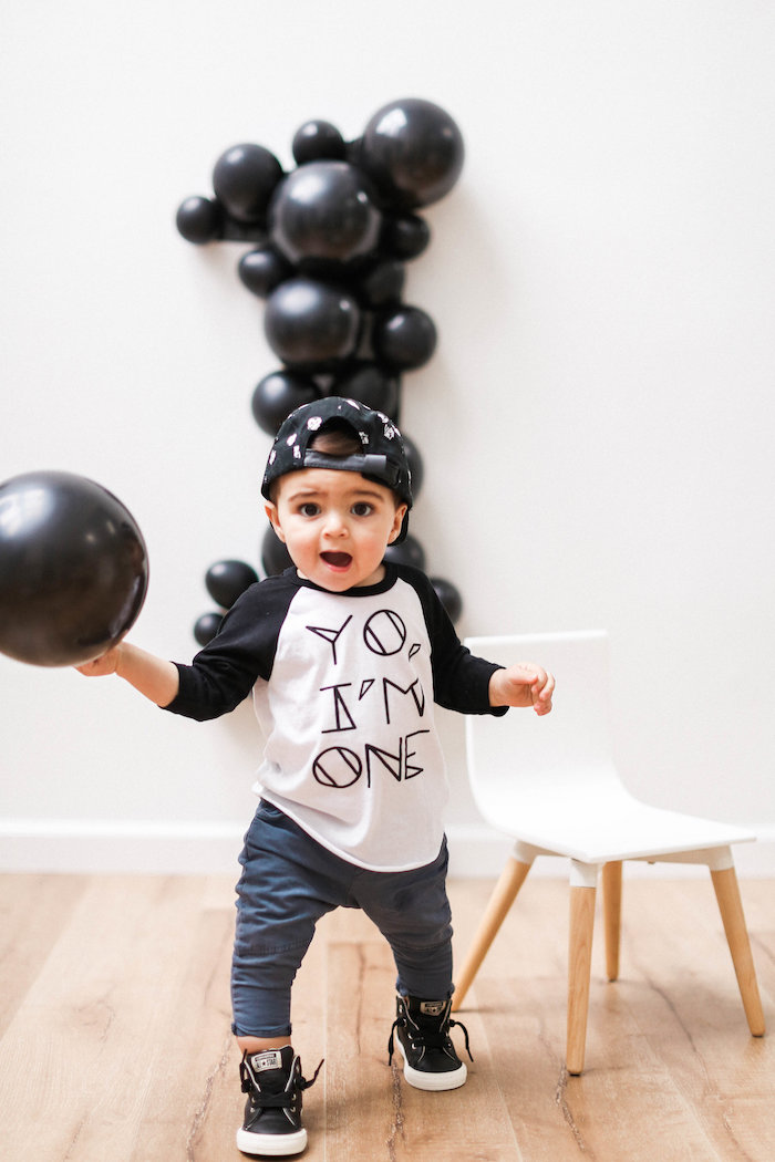 Monochromatic First Birthday Photo Shoot on Kara's Party Ideas | KarasPartyIdeas.com (19)