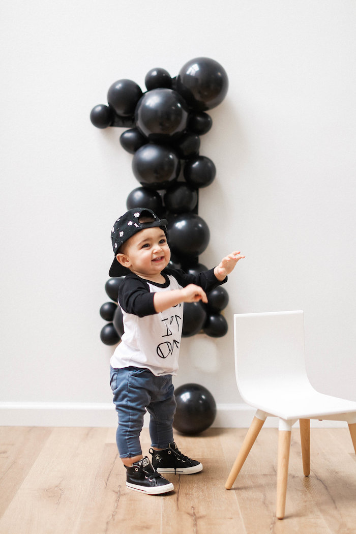 Monochromatic First Birthday Photo Shoot on Kara's Party Ideas | KarasPartyIdeas.com (18)