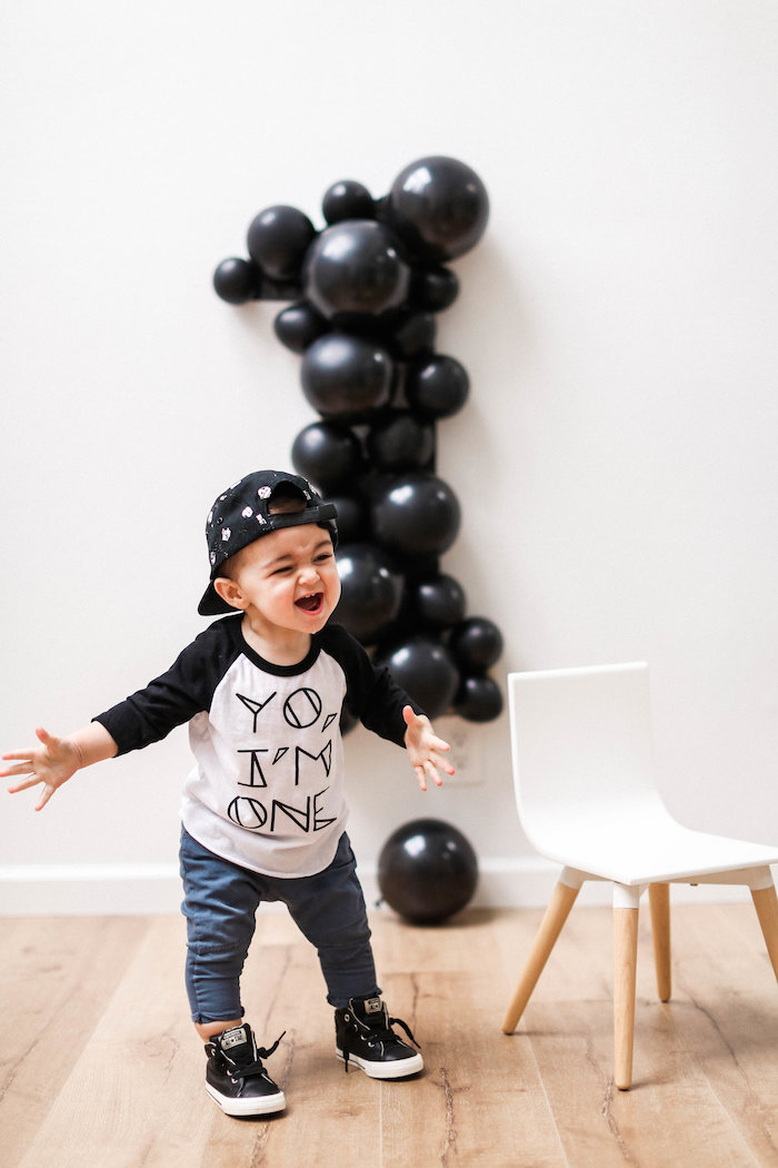 Monochromatic First Birthday Photo Shoot on Kara's Party Ideas | KarasPartyIdeas.com (17)