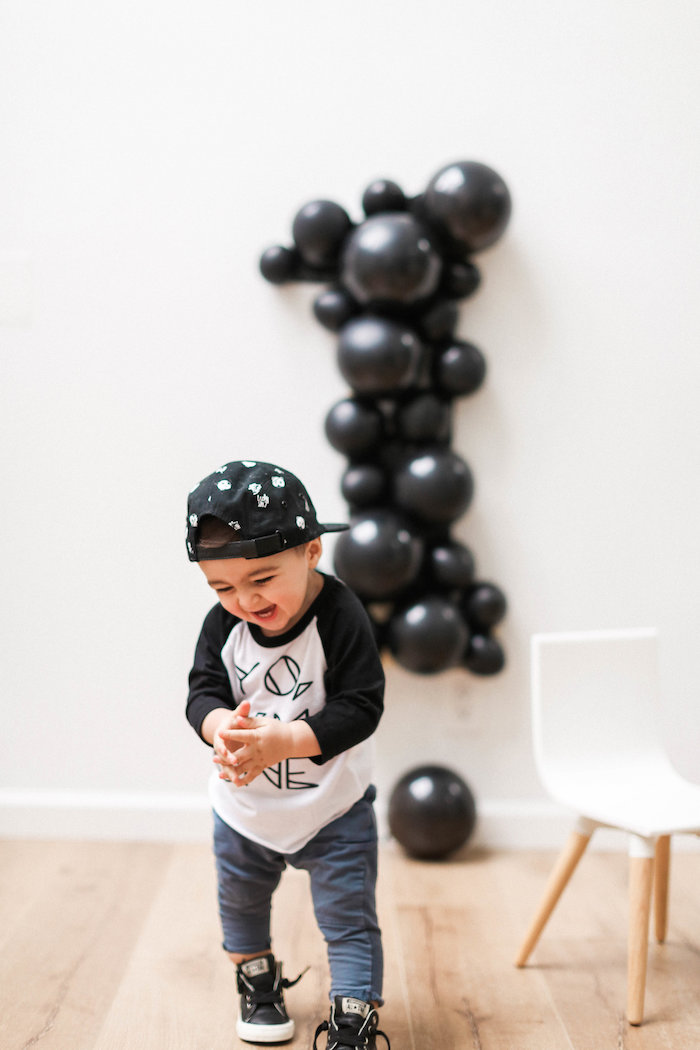 Monochromatic First Birthday Photo Shoot on Kara's Party Ideas | KarasPartyIdeas.com (16)