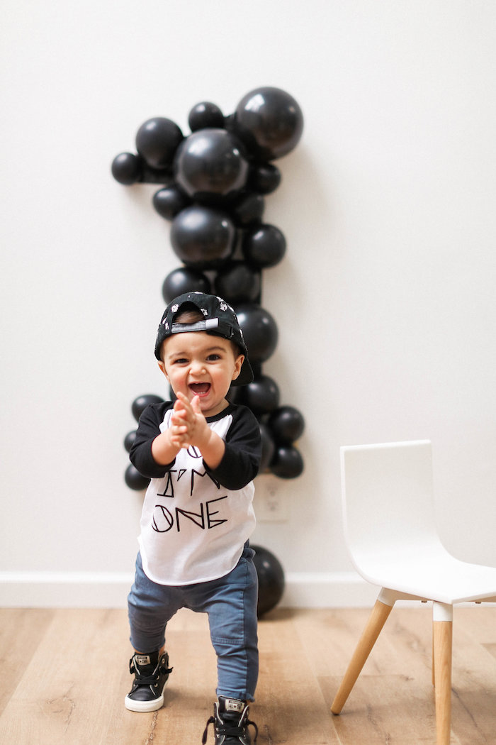 Monochromatic First Birthday Photo Shoot on Kara's Party Ideas | KarasPartyIdeas.com (15)