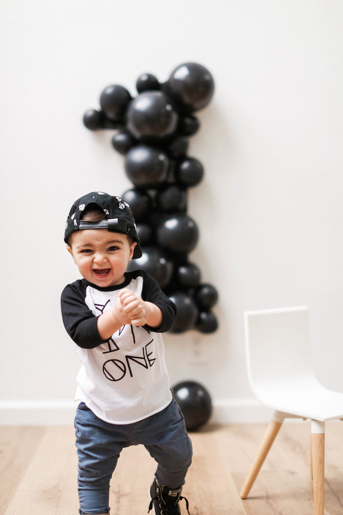 Monochromatic First Birthday Photo Shoot on Kara's Party Ideas | KarasPartyIdeas.com (14)