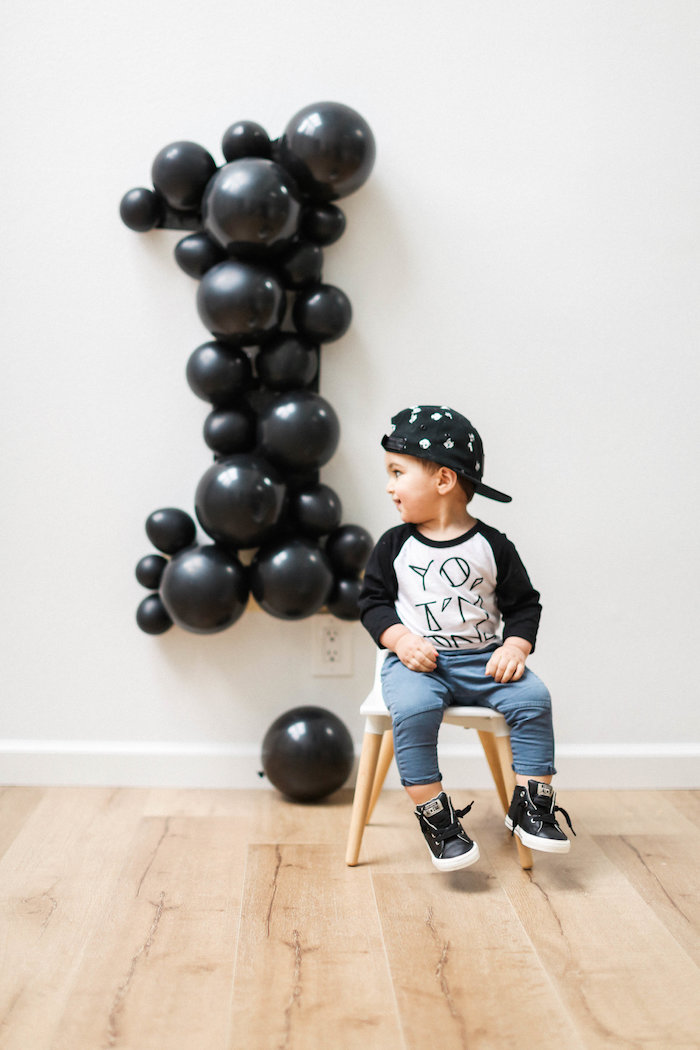 Kara S Party Ideas Monochromatic First Birthday Photo
