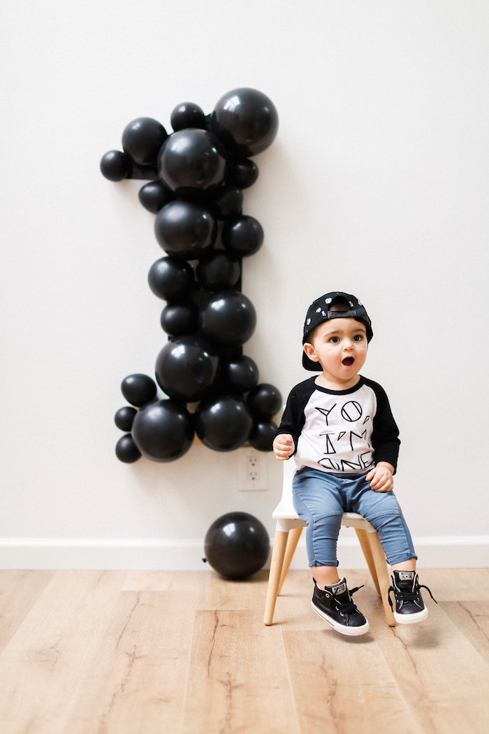 Monochromatic First Birthday Photo Shoot on Kara's Party Ideas | KarasPartyIdeas.com (12)