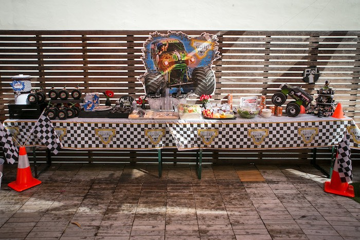 Food, beverage and snack table from a Monster Truck Birthday Party on Kara's Party Ideas | KarasPartyIdeas.com (24)
