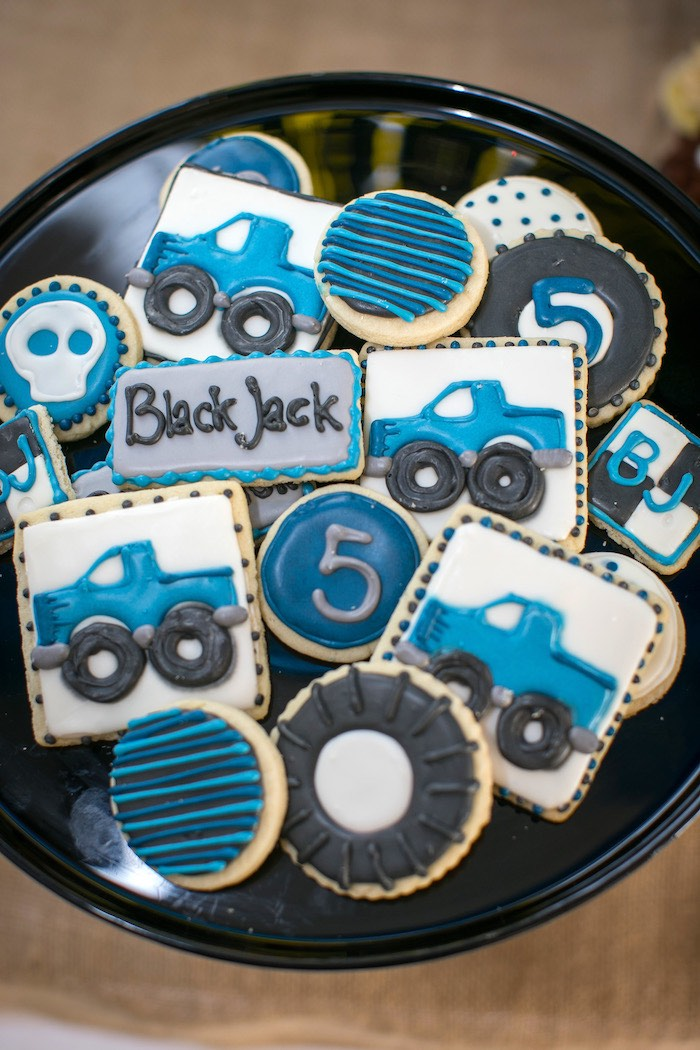 Sugar cookies from a Monster Truck Birthday Party on Kara's Party Ideas | KarasPartyIdeas.com (14)