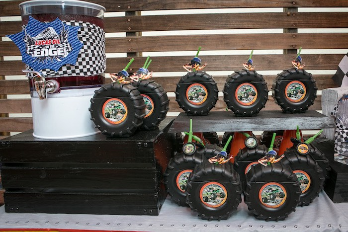 Beverage table from a Monster Truck Birthday Party on Kara's Party Ideas | KarasPartyIdeas.com (9)