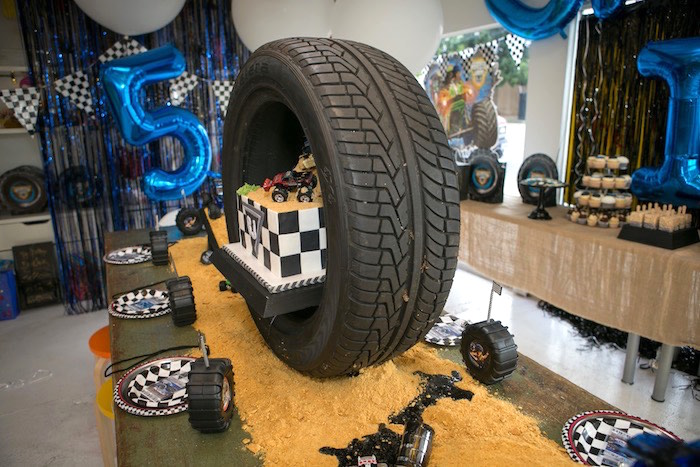 Guest table from a Monster Truck Birthday Party on Kara's Party Ideas | KarasPartyIdeas.com (6)