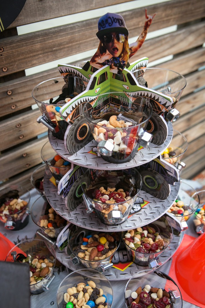 Nut and bolt snack cups from a Monster Truck Birthday Party on Kara's Party Ideas | KarasPartyIdeas.com (26)