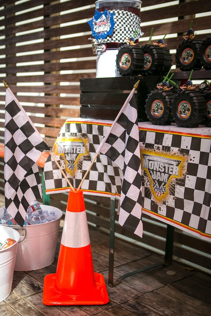 Caution cone and checkered flags from a Monster Truck Birthday Party on Kara's Party Ideas | KarasPartyIdeas.com (25)