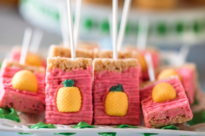Rice Krispie Treats from a Party Like a Pineapple Tropical Birthday Party on Kara's Party Ideas | KarasPartyIdeas.com (14)