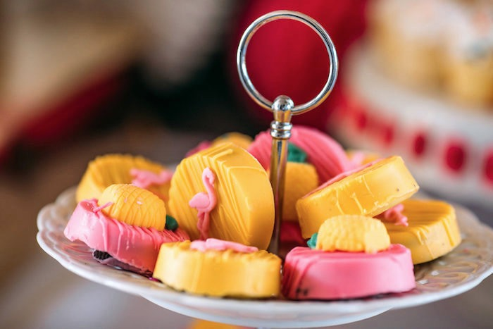 Flamingo and pineapple Oreos from a Party Like a Pineapple Tropical Birthday Party on Kara's Party Ideas | KarasPartyIdeas.com (13)