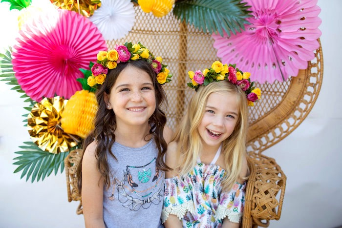 Floral crowns from a Party Like a Pineapple Tropical Birthday Party on Kara's Party Ideas | KarasPartyIdeas.com (8)