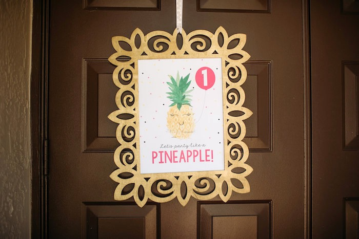 "Pineapple party signage from a ""Party Like a Pineapple"" Tropical Birthday Party on Kara's Party Ideas 