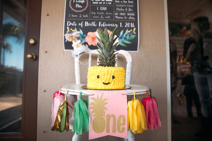 High chair banner from a Party Like a Pineapple Tropical Birthday Party on Kara's Party Ideas | KarasPartyIdeas.com (4)