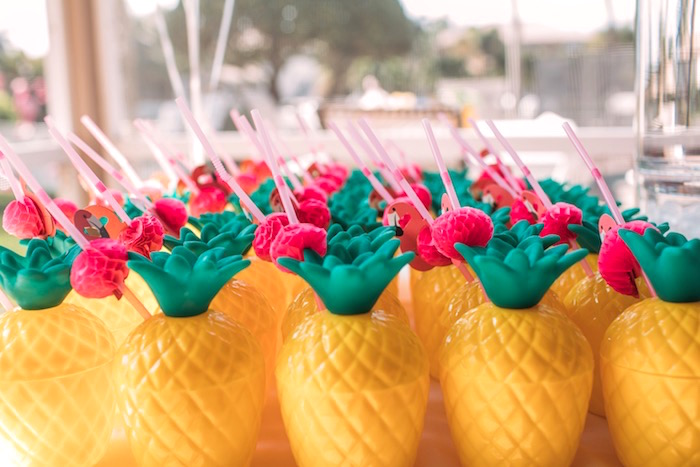 Pineapple cups from a Party Like a Pineapple Tropical Birthday Party on Kara's Party Ideas | KarasPartyIdeas.com (22)