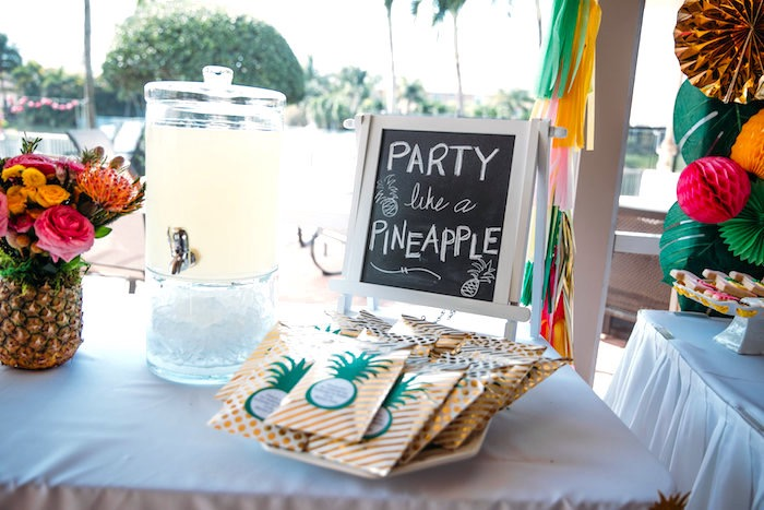 Beverage table from a Party Like a Pineapple Tropical Birthday Party on Kara's Party Ideas | KarasPartyIdeas.com (18)