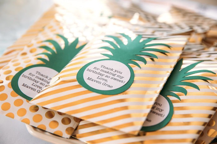 Pineapple snack bags from a Party Like a Pineapple Tropical Birthday Party on Kara's Party Ideas | KarasPartyIdeas.com (17)