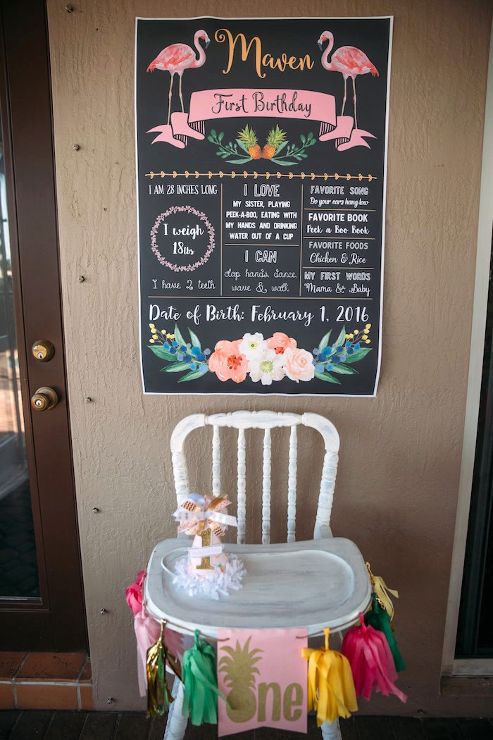 High chair + fact board from a Party Like a Pineapple Tropical Birthday Party on Kara's Party Ideas | KarasPartyIdeas.com (16)