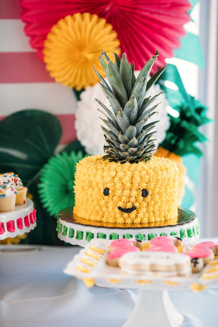 Pineapple cake from a Party Like a Pineapple Tropical Birthday Party ...