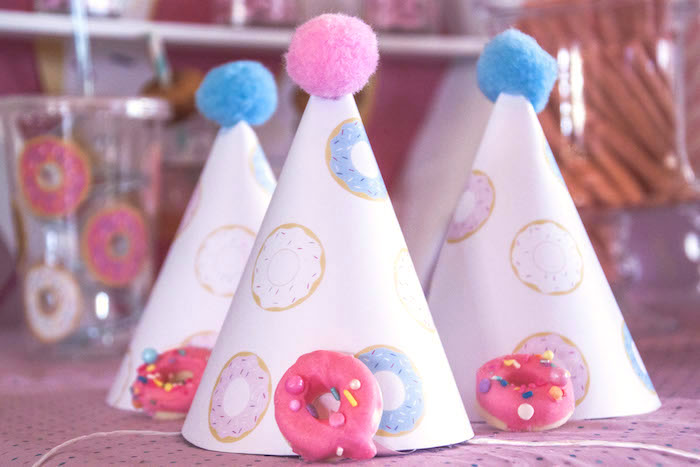 Donut party hats from a Pastel Pink & Blue Donut Birthday Party on Kara's Party Ideas | KarasPartyIdeas.com (5)