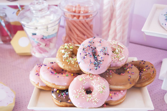 Donuts from a Pastel Pink & Blue Donut Birthday Party on Kara's Party Ideas | KarasPartyIdeas.com (12)
