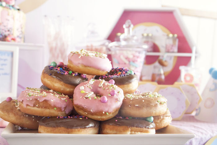 Donuts from a Pastel Pink & Blue Donut Birthday Party on Kara's Party Ideas | KarasPartyIdeas.com (8)