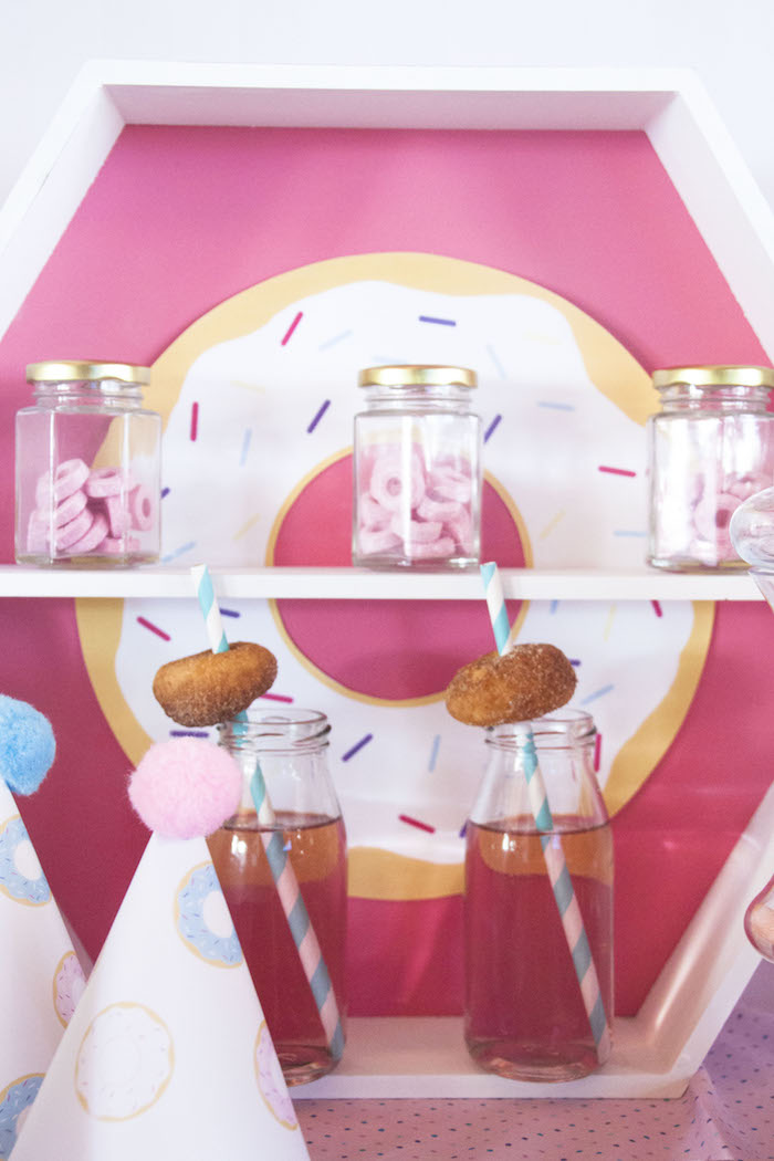 Favors and drinks from a Pastel Pink & Blue Donut Birthday Party on Kara's Party Ideas | KarasPartyIdeas.com (6)