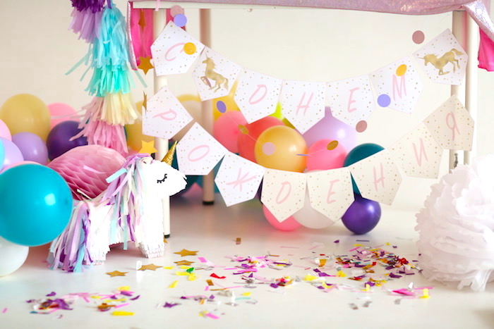 Balloons, banners and bunting from a Pastel Unicorn Birthday Party on Kara's Party Ideas | KarasPartyIdeas.com (9)