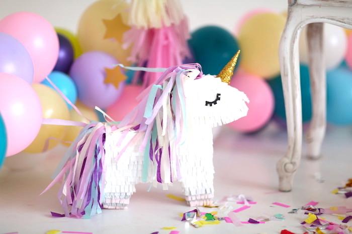 Unicorn pinata from a Pastel Unicorn Birthday Party on Kara's Party Ideas | KarasPartyIdeas.com (8)