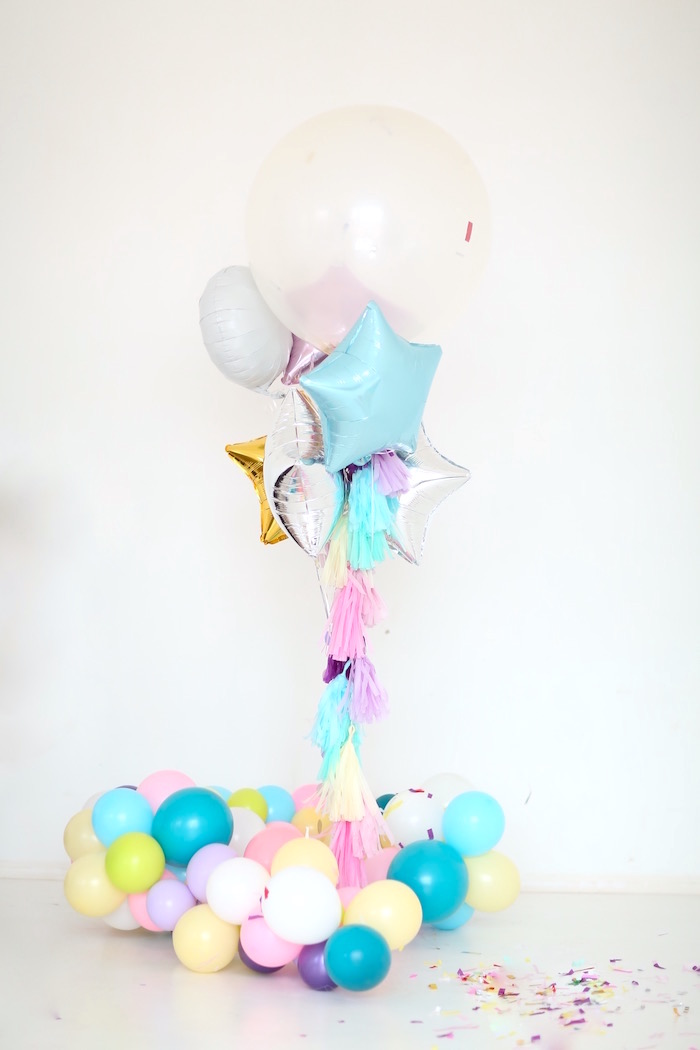 Balloon arrangement from a Pastel Unicorn Birthday Party on Kara's Party Ideas | KarasPartyIdeas.com (6)