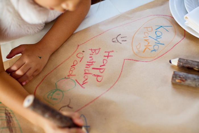 Parchment table runner for coloring from a Peter Rabbit Birthday Party on Kara's Party Ideas   KarasPartyIdeas.com (7)