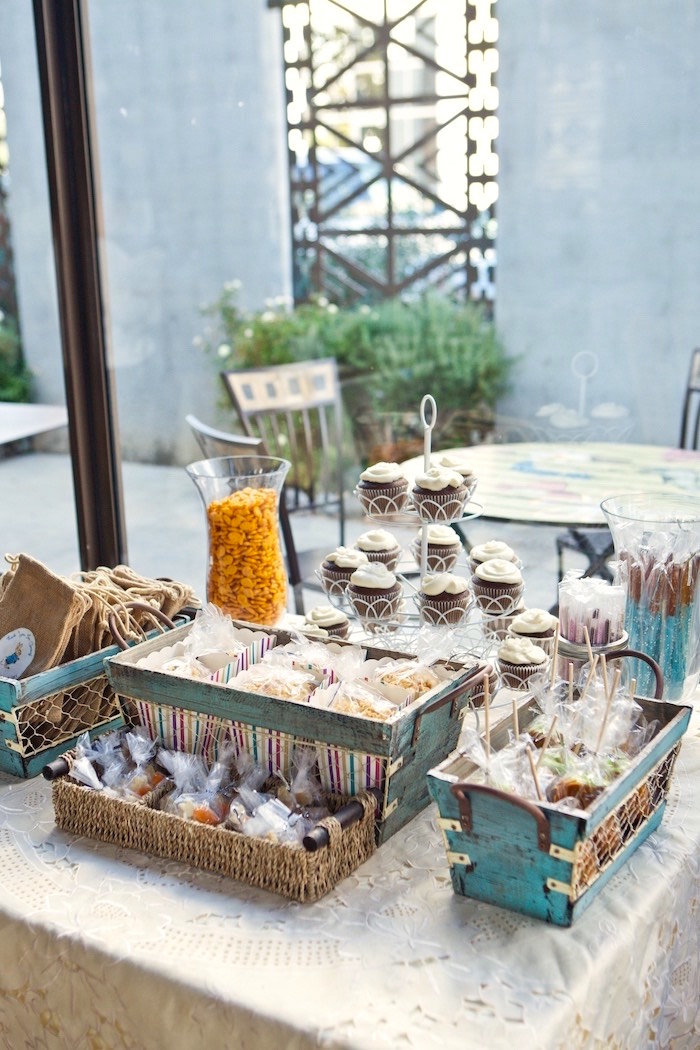 Sweet, snack and favor table from a Peter Rabbit Birthday Party on Kara's Party Ideas | KarasPartyIdeas.com (6)