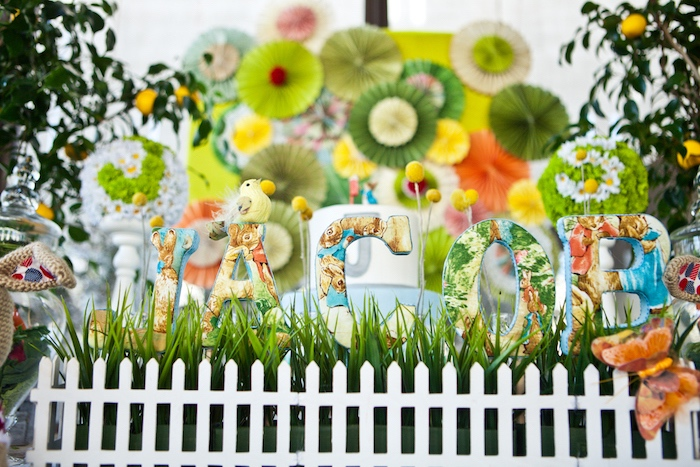 Peter Rabbit block letter banner from a Peter Rabbit Birthday Party on Kara's Party Ideas   KarasPartyIdeas.com (5)