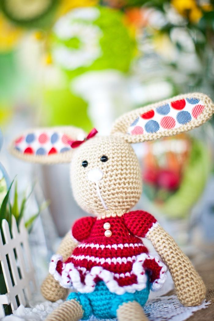 Knit bunny from a Peter Rabbit Birthday Party on Kara's Party Ideas | KarasPartyIdeas.com (18)