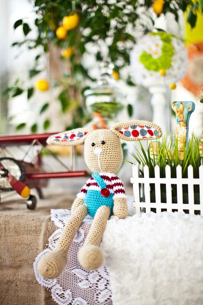 Knit bunny from a Peter Rabbit Birthday Party on Kara's Party Ideas | KarasPartyIdeas.com (16)