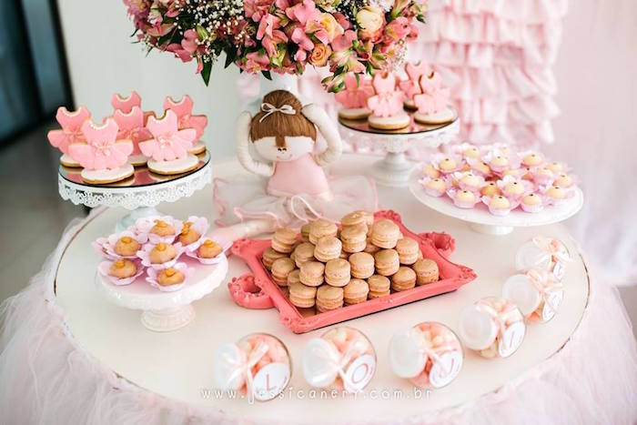Sweet table from a Pink Ballerina Birthday Party on Kara's Party Ideas | KarasPartyIdeas.com (30)